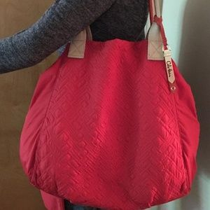 COLE HAAN Large Red Nylon Stitched Tote